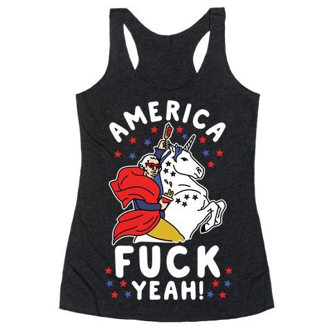 America F*** Yeah Washington Unicorn Racerback Tank Top