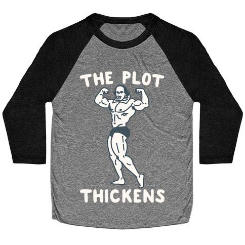The Plot Thickens Shakespeare Parody White Print Baseball Tee
