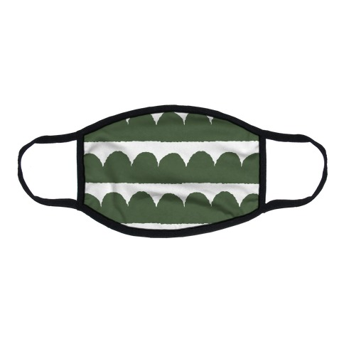Simple Scalloped Lines Pattern Green Flat Face Mask