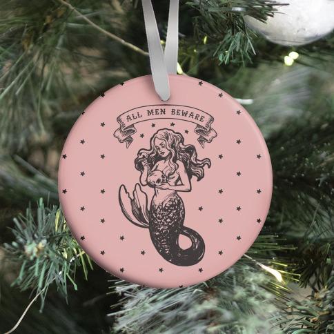 All Men Beware Vintage Mermaid Ornament