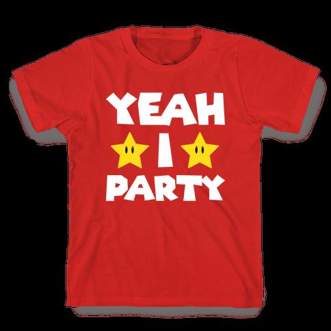 Yeah I Party Mario Parody Kids T-Shirt