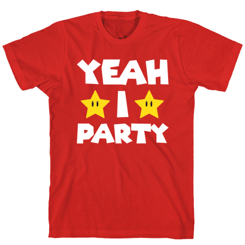 Yeah I Party Mario Parody Mens T-Shirt