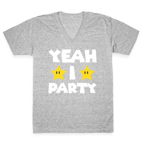 Yeah I Party Mario Parody V-Neck Tee Shirt