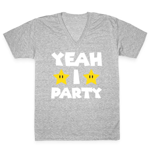 Yeah I Party Mario Parody V-Neck Tee Shirt