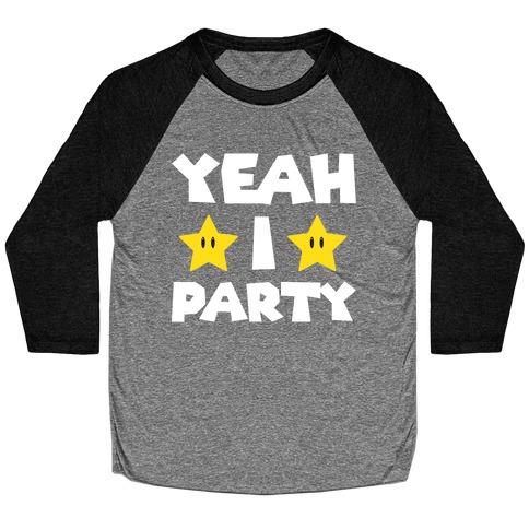 Yeah I Party Mario Parody Baseball Tee
