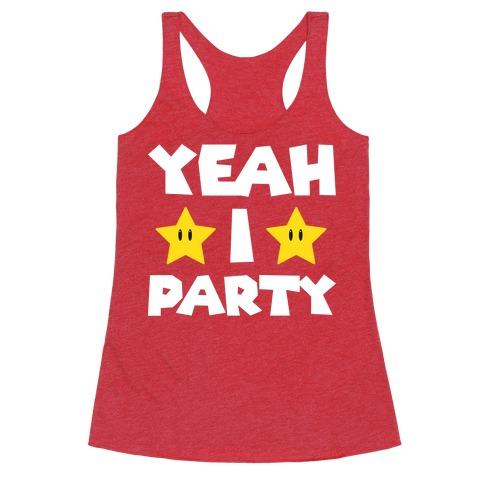 Yeah I Party Mario Parody Racerback Tank Top