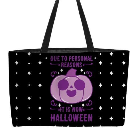 Due To Personal Reasons It Is Now Halloween Pumpkin (Purple) Weekender Tote