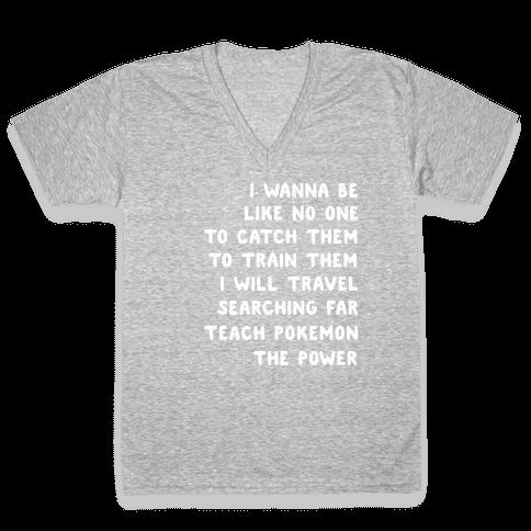 I Wanna Be - Pokemon Lyrics (1 of 2 pair) V-Neck Tee Shirt