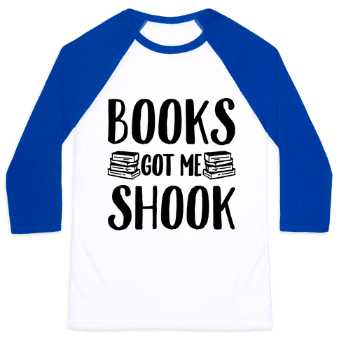 Books Got Me Shook Baseball Tee
