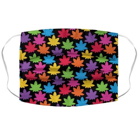 Rainbow Pot Leaf Pattern Accordion Face Mask