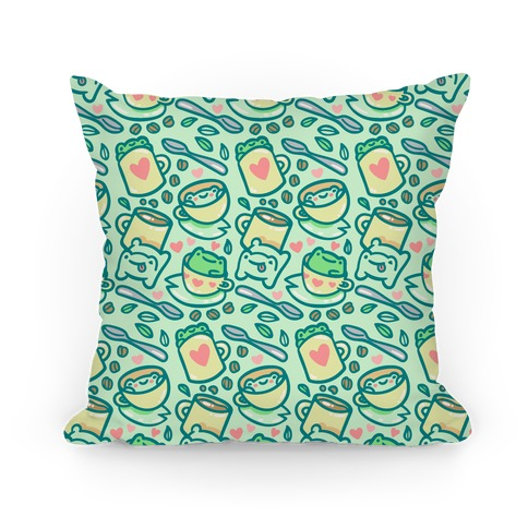Coffee And Tea Frogs Pillow