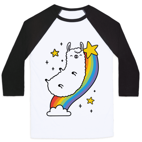 Llama On A Rainbow Baseball Tee