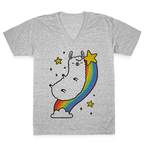 Llama On A Rainbow V-Neck Tee Shirt