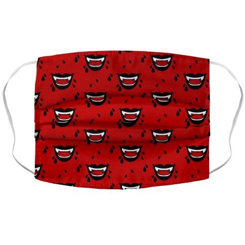 Black Vampire Lips Pattern Accordion Face Mask