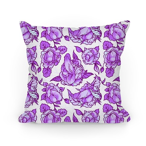 Floral Penis Pattern Purple Pillow