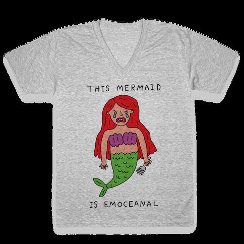 This Mermaid Is Emoceanal V-Neck Tee Shirt