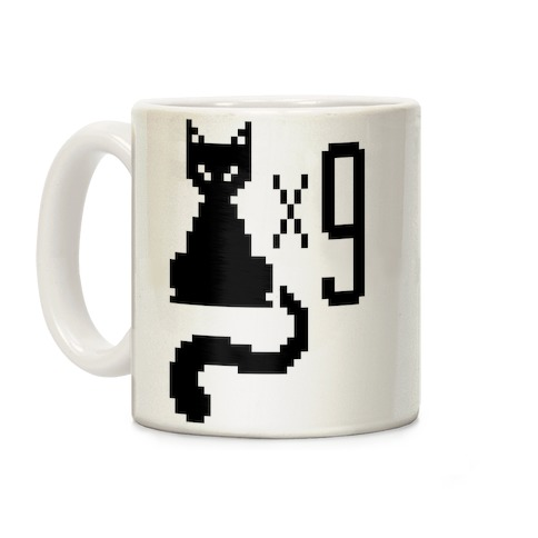 Retro Cat 9 lives Coffee Mug