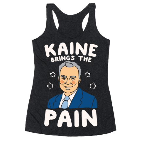 Kaine Brings The Pain White Print Racerback Tank Top