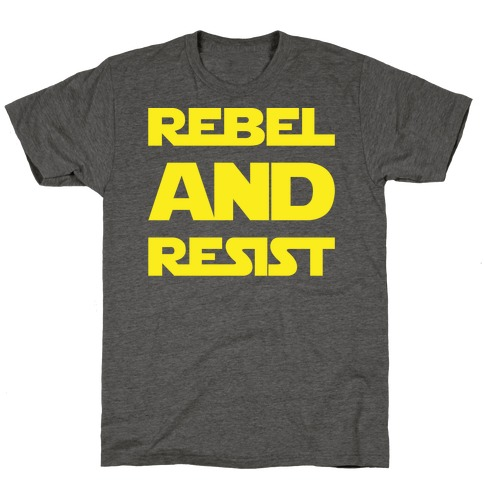 Rebel and Resist Parody White Print T-Shirt