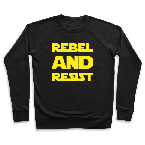 Rebel and Resist Parody White Print Pullover