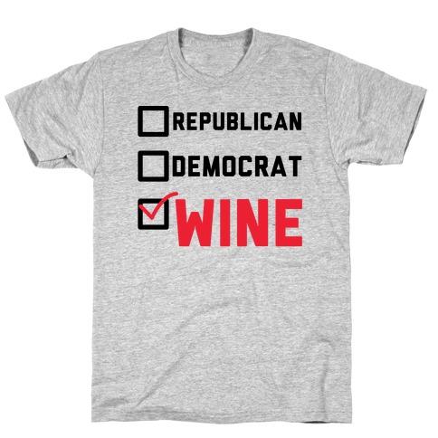 Republican Democrat Wine T-Shirt