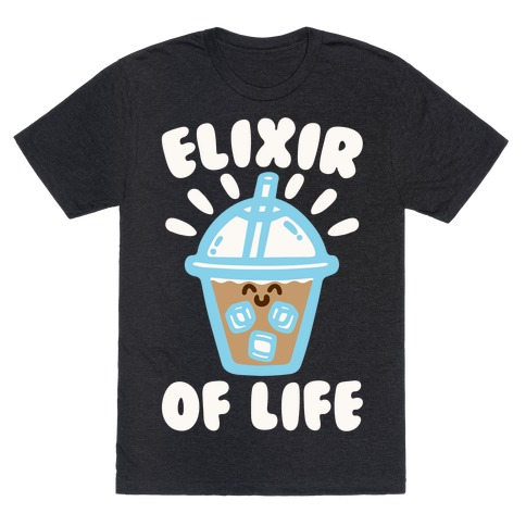 Elixir of Life Iced Coffee White Print T-Shirt