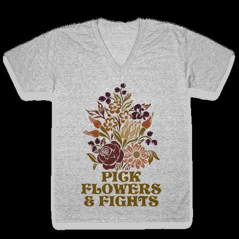 Pick Flowers & Fights V-Neck Tee Shirt
