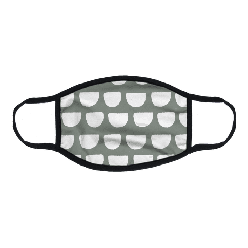 Simple Scallop Pattern Grey Flat Face Mask