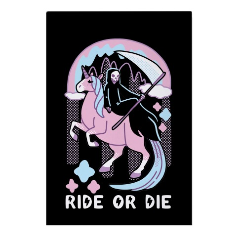 Ride or Die - Grim Reaper and Unicorn Garden Flag