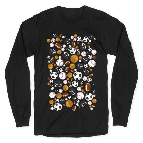 Sports Balls Pattern Long Sleeve T-Shirt