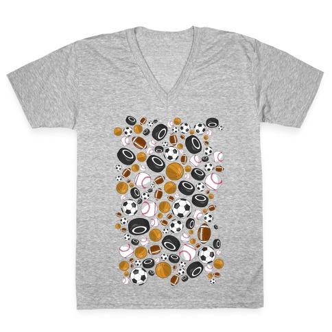 Sports Balls Pattern V-Neck Tee Shirt