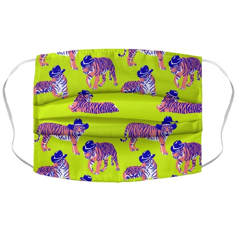 Tigers in Cowboy Hat Neon Pattern Accordion Face Mask