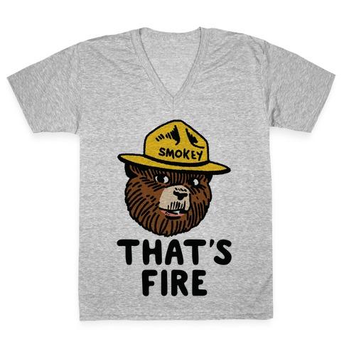 That's Fire Smokey The Bear V-Neck Tee Shirt