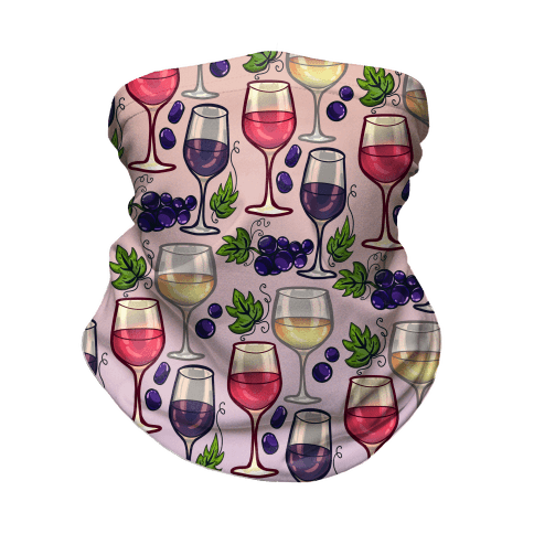 Wine and Grapes Pattern Neck Gaiter
