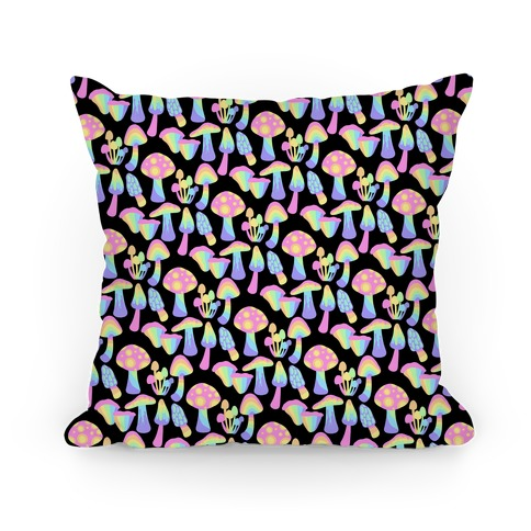 Pastel Rainbow Mushrooms Pattern Pillow