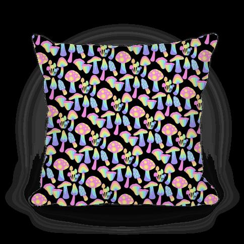 Pastel Rainbow Mushrooms Pattern Pillow