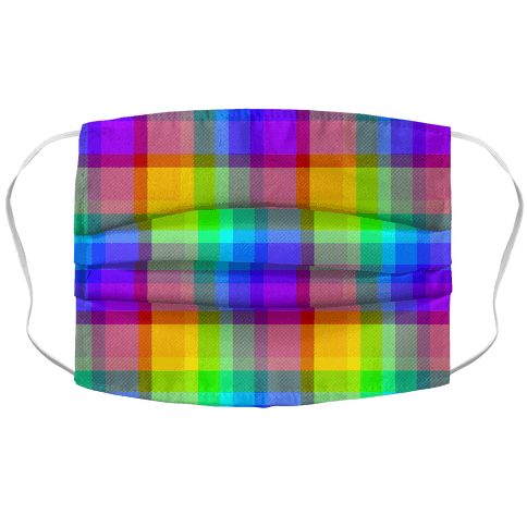 Rainbow Plaid Face Mask Cover