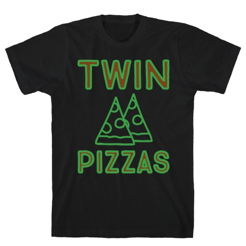 Twin Pizzas Parody White Print T-Shirt