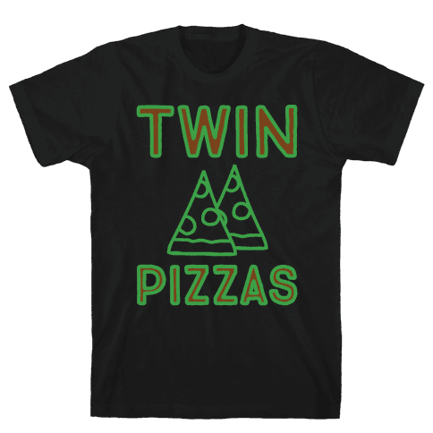 Twin Pizzas Parody White Print Mens T-Shirt