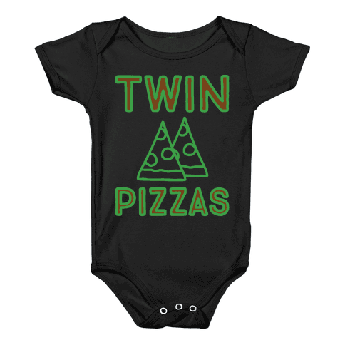 Twin Pizzas Parody White Print Baby Onesy