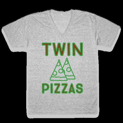 Twin Pizzas Parody White Print V-Neck Tee Shirt