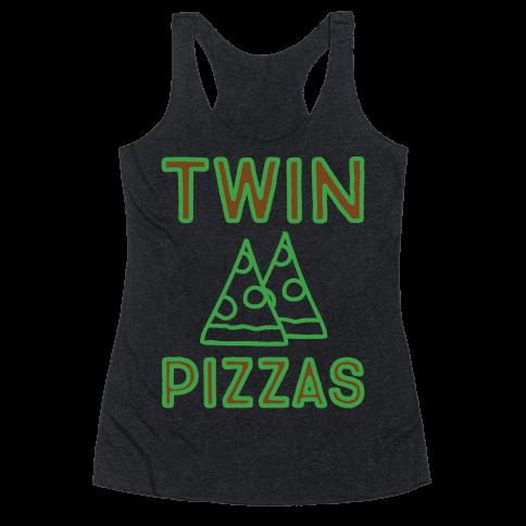 Twin Pizzas Parody White Print Racerback Tank Top