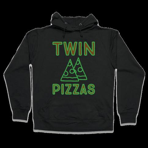 Twin Pizzas Parody White Print Hooded Sweatshirt