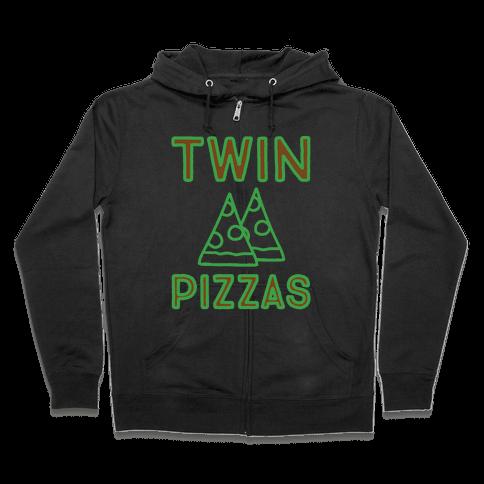Twin Pizzas Parody White Print Zip Hoodie
