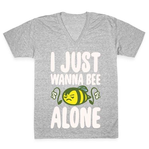 I Just Wanna Be Alone Emo Bee Pun Parody White Print V-Neck Tee Shirt