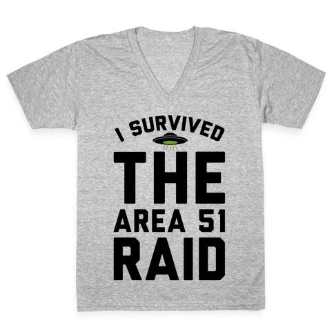I Survived The Area 51 Raid Parody V-Neck Tee Shirt