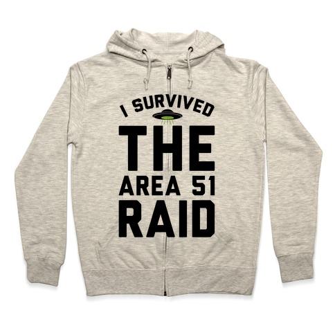 I Survived The Area 51 Raid Parody Zip Hoodie