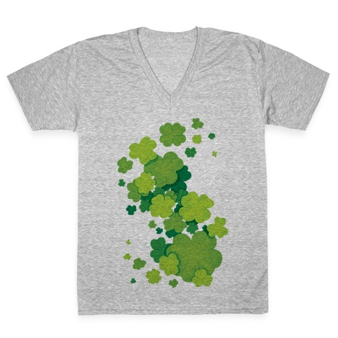 Clover Patch Pattern V-Neck Tee Shirt