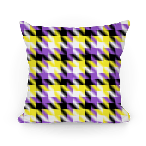 Nonbinary Pride Flag Plaid Pillow