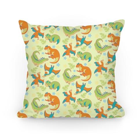 Funky Dinosaur Friends Pattern Pillow